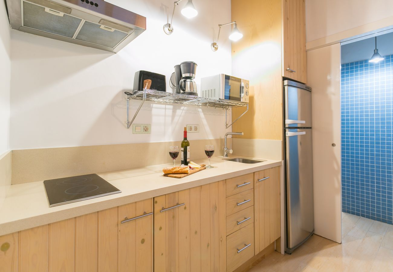 basic kitchen with cooker in apartment near the beach of Barceloneta