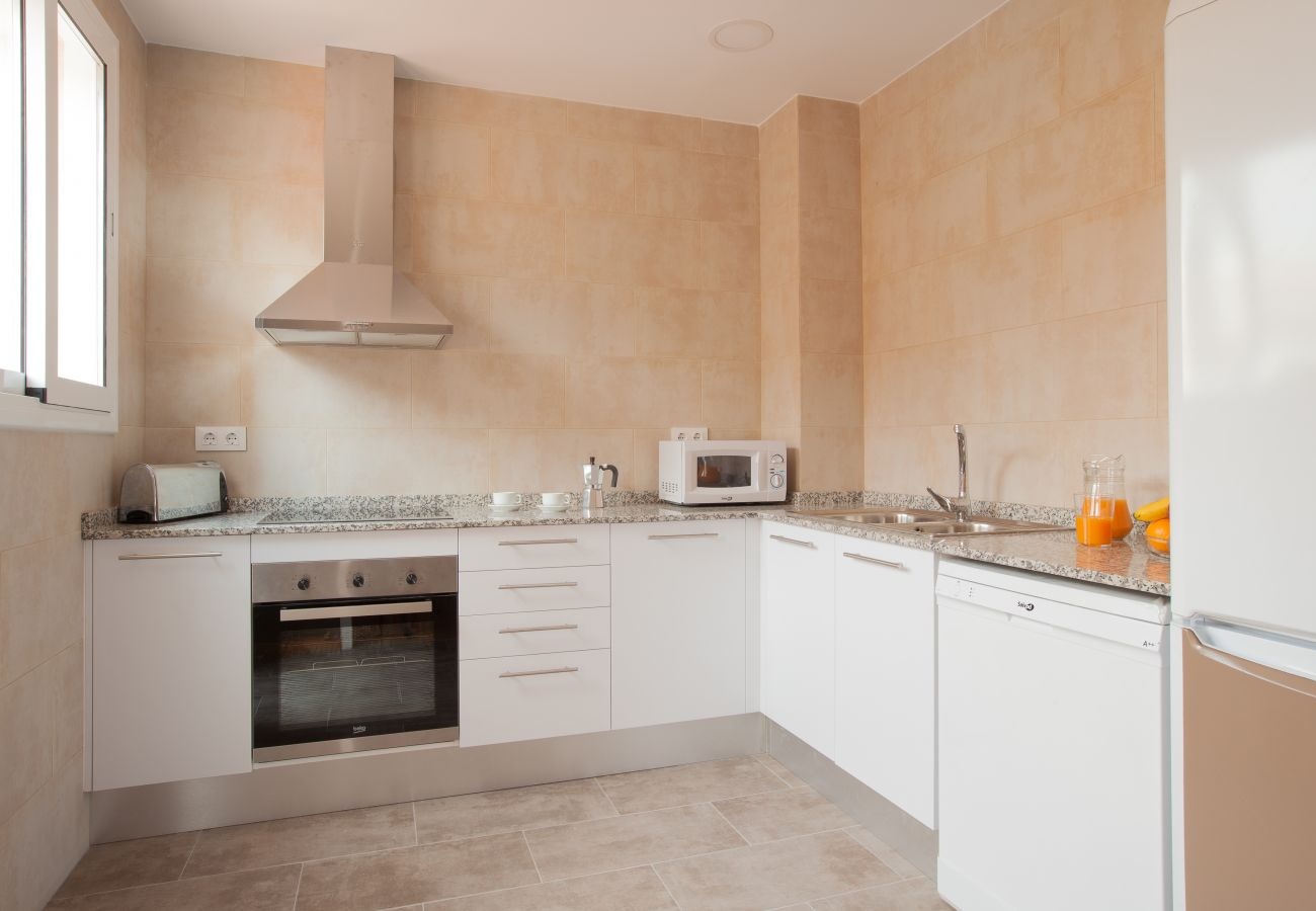 kitchen of apartment in Vallcarca with views to the mountains