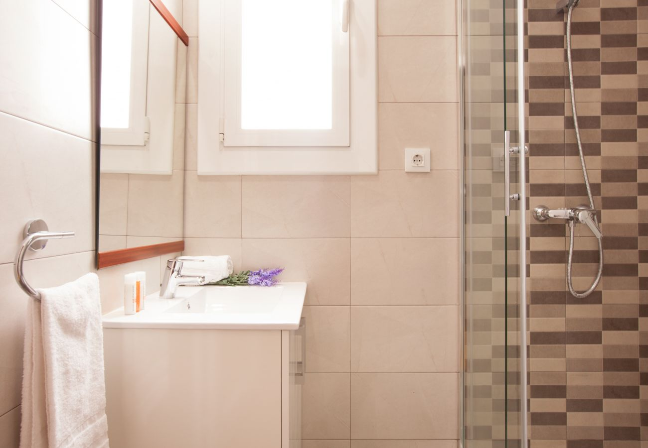 bathroom of apartment in Vallcarca with views to the mountains