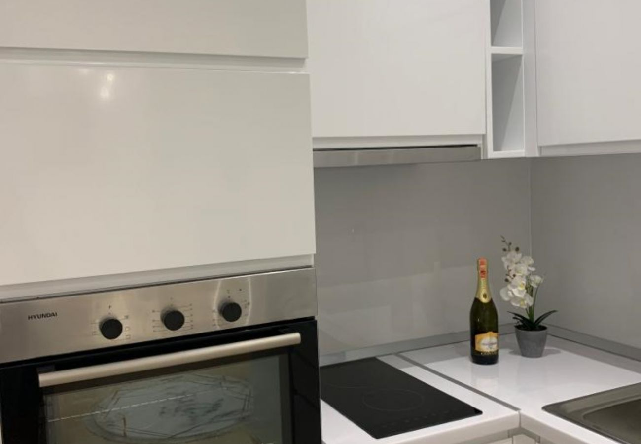 Kitchen details - oven,stove and sink in one bedroom apartment inn Vlora