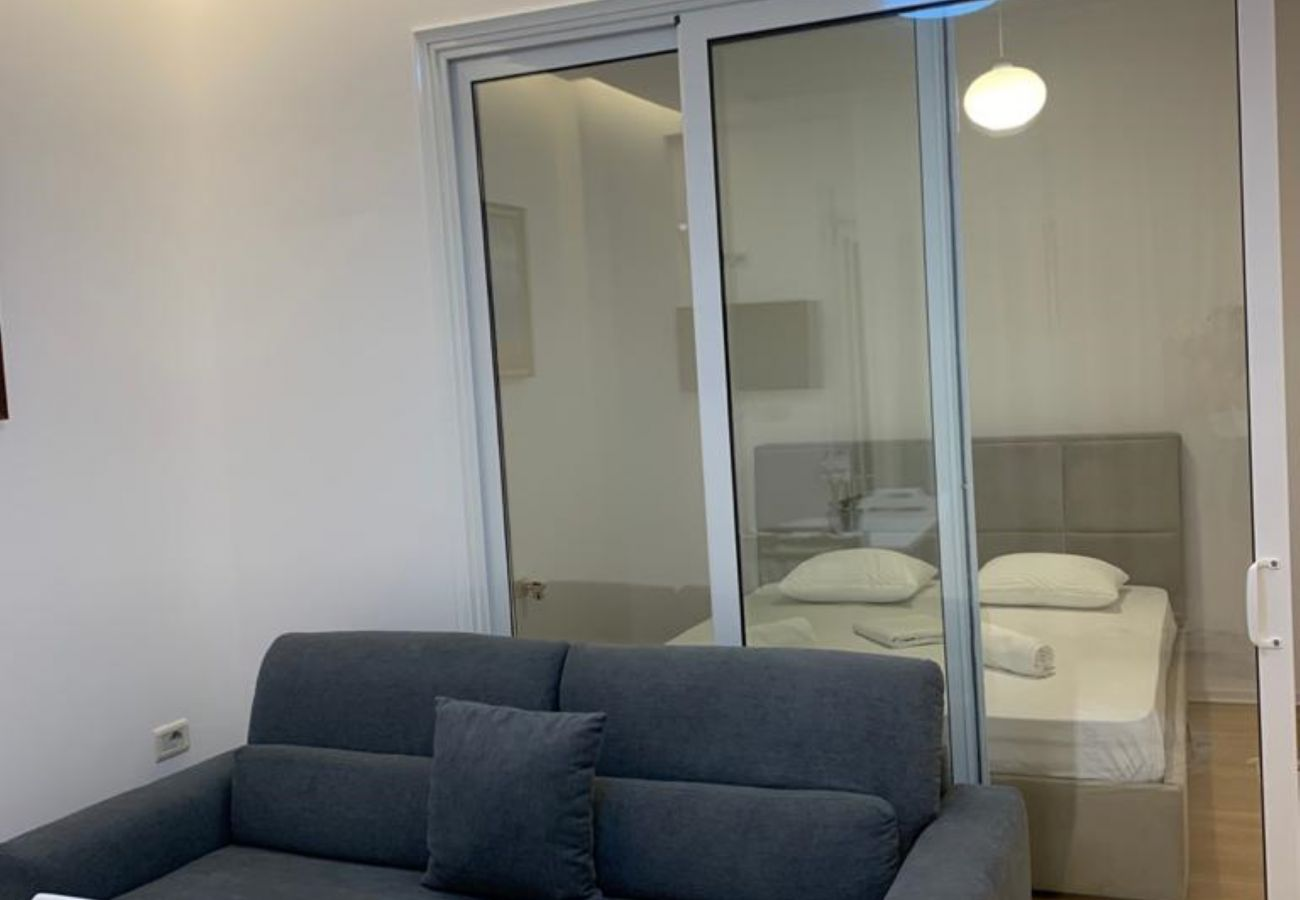 Connected rooms - Living room and bedroom in one bedroom apartment in Vlora