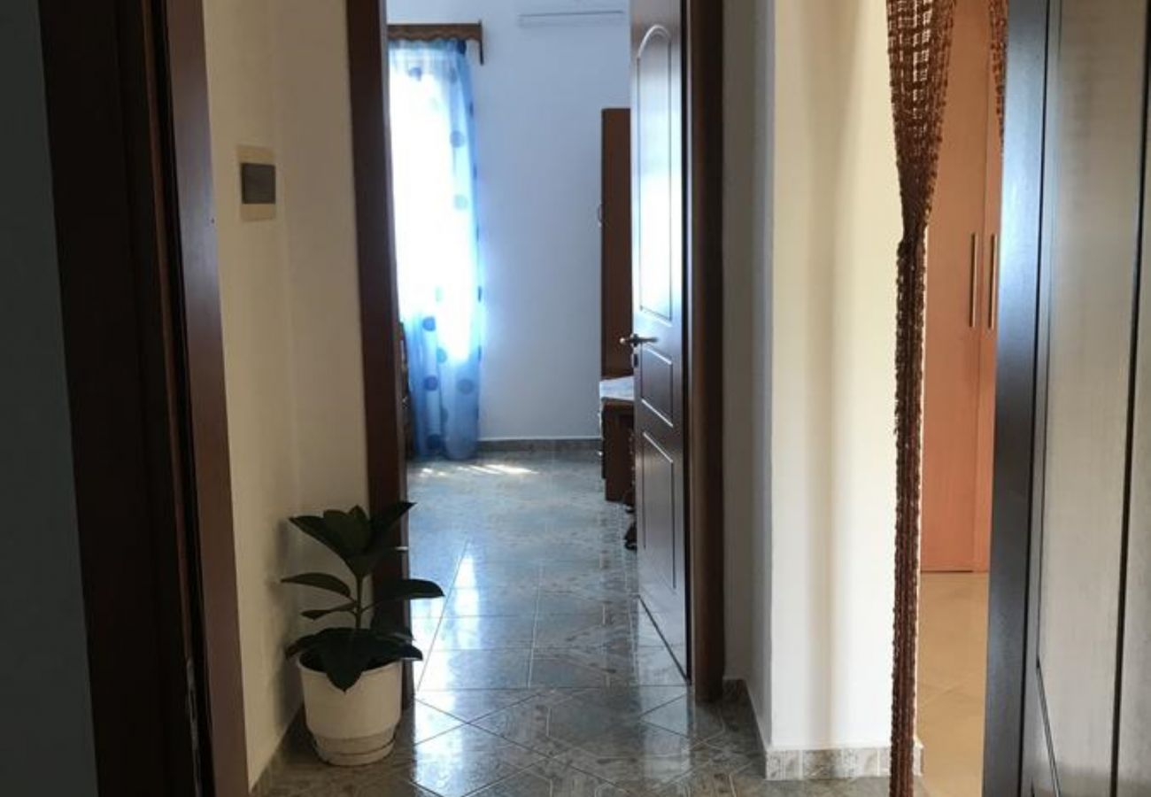 Hallway in between two bedrooms in a 2 bedroom flat near the sea in Ksamil
